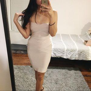 Nude Strapless Bandage Bodycon Dress